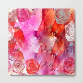 Floating Pink & Soft Red Roses & Gold Leaves Metal Print