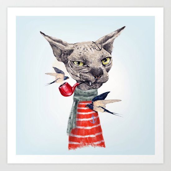 Sphynx Cat Art Print By Dogooder Society6