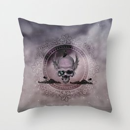 Awesome skull with wings and crow Throw Pillow