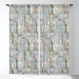 New York watercolor Blackout Curtain