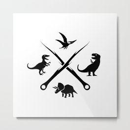 Hipster Dinosaurs Logo (black version) Metal Print
