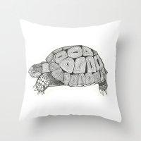 tortoise Throw Pillows featuring Tortoise by Carissa Tanton