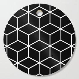 Black and White - Geometric Cube Design II Cutting Board