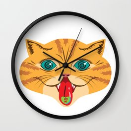 Kiss Me Ginger Cat Wall Clock