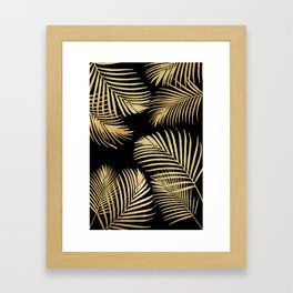 Gold Palm Leaves on Black Framed Art Print