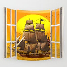 American Frigate Sailing Against a Sunset Wall Tapestry