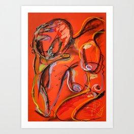 Body Exercise - Orange Red Edition Art Print