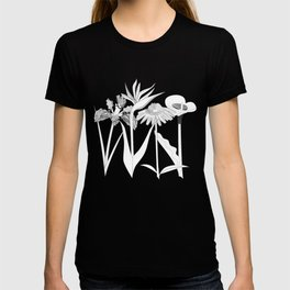 Spring Flowas Bring Girl Powas, Black and White Illustration T-shirt
