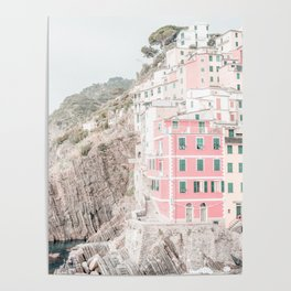 Positano, Italy pink-peach-white travel photography in hd. Poster