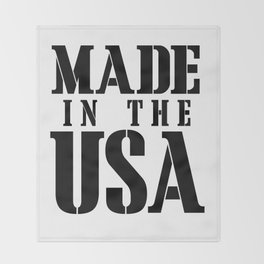 Made in the USA - black text Throw Blanket