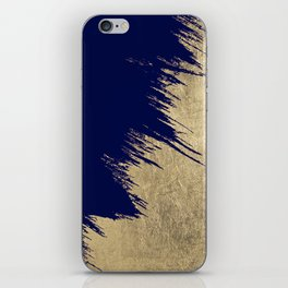 Navy blue abstract faux gold brushstrokes iPhone Skin