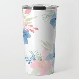 Blush Pink and Navy Watercolor Florals Travel Mug