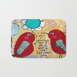 I love you a bushel and a peck, whimsical birds with flower Bath Mat
