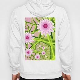 Floral Fantasy, Neon Pink Green Fractal Flowers Hoody