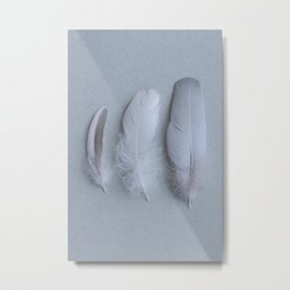Three Feathers on Grey Metal Print
