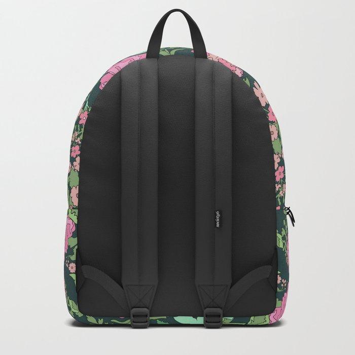 Pink repeating flower pattern Backpack