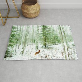 Snowy forest and dachshund Rug