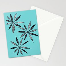 Elegant Thin Flowers With Dots And Swirls Stationery Cards