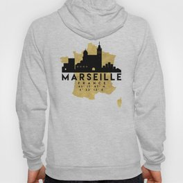 MARSEILLE FRANCE SILHOUETTE SKYLINE MAP ART Hoody