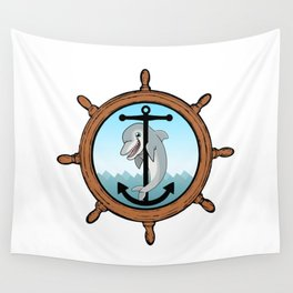 Dolphin, anchor, helm Wall Tapestry