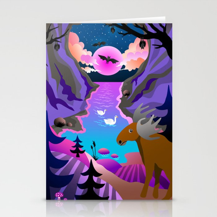Sunset mystical cave Stationery Cards