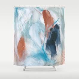 Blue and Copper Feathers Shower Curtain