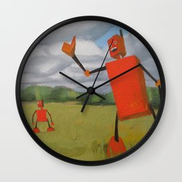 Robot in Landscape #1 Wall Clock