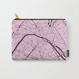 Paris France Minimal Street Map - Pretty Pink on Black Carry-All Pouch
