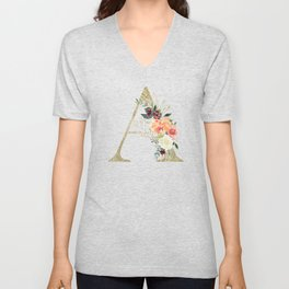 "Letter ""A"" Monogram, Gold Leaf and Watercolor Flowers Unisex V-Neck"