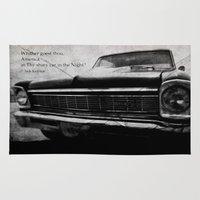 kerouac Area & Throw Rugs featuring Shiny Car in the Night by Bella Blue Photography