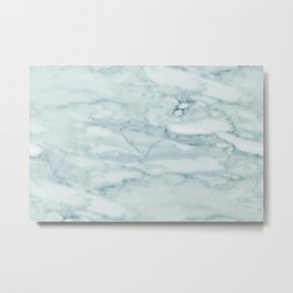 Marble Pale Teal Sea Green Marble Metal Print