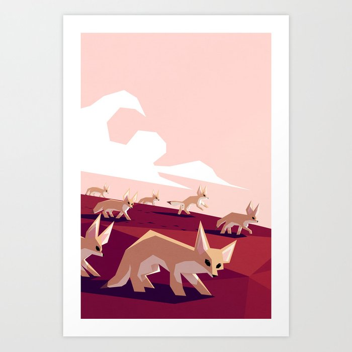 Découvrez le motif DESERT FOXES ON THE PROWL par Yetiland en affiche chez TOPPOSTER