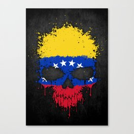 Flag of Venezuela on a Chaotic Splatter Skull Canvas Print