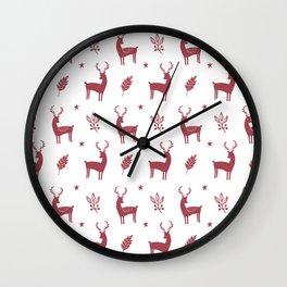 Christmas Red Reindeers Wall Clock