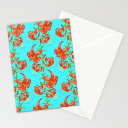 Tiger Lilies (Light Blue Background) Stationery Cards