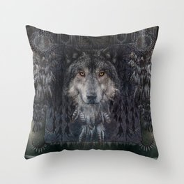 The Winter is here - Wolf Dreamcatcher Throw Pillow