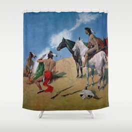 "Frederic Remington Western Art ""Smoke Signals"" Shower Curtain"