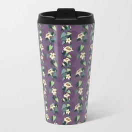 Moonflower vine pattern in dusky purple Travel Mug