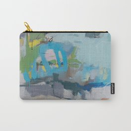 """riding the rail"" abstract art in navy, lime, robin's egg and teal Carry-All Pouch"