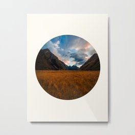 Mid Century Modern Round Circle Photo Graphic Design Autumn Fields With Steep Mountains Metal Print