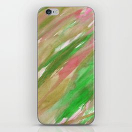 Pink green brown watercolor hand painted brushstrokes iPhone Skin