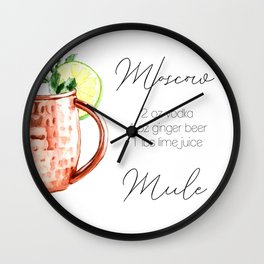Cocktail Recipe. Moscow Mule. Square Wall Clock