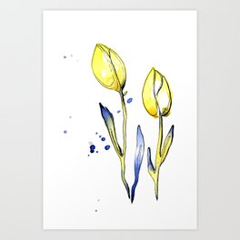 20190529B - Yellow and Blue Flowers Art Print