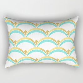 Mint and Gold Gatsby Twenties Deco Fan Pattern Rectangular Pillow