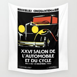 Vector art deco Brussels 1930s auto salon Wall Tapestry