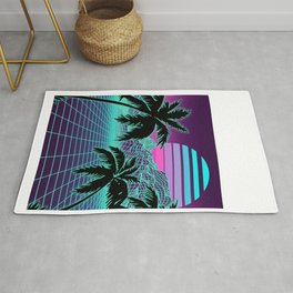 Retro 80s Vaporwave Sunset Sunrise With Outrun style grid print Rug