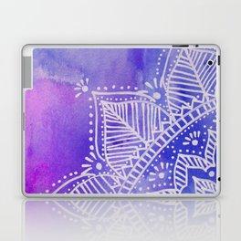 Mandala flower on watercolor background - purple and blue Laptop & iPad Skin