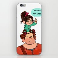 wreck it ralph iPhone & iPod Skins featuring Vanellope and Ralph by Hattie Hedgehog