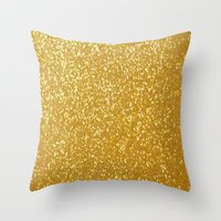 gold glitter Throw Pillows featuring GOLD GLITTER by I Love Decor