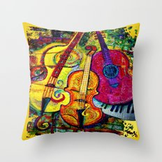 Rose Colored Guitar Mixed Media Abstract  Painting Throw Pillow
